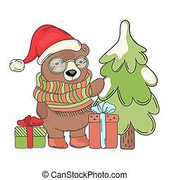 BEAR SANTA GIFT Merry Christmas Cartoon Vector Illustration Set