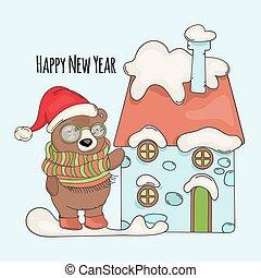 BEAR SANTA Merry Christmas Cartoon Vector Illustration Set