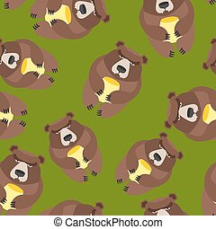 Bear seamless pattern. Vector background of wild animals
