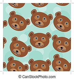 Bear Seamless pattern with funny cute animal face on a blue background