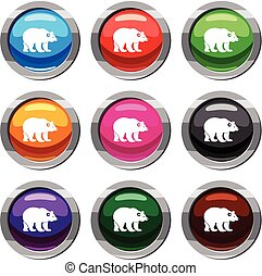 Bear set 9 collection - Bear set icon isolated on white. 9...