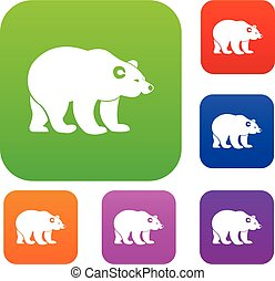 Bear set collection - Bear set icon in different colors...