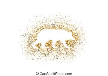 Bear shape on golden glitter over white background