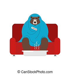 Bear sick sitting in armchair wrapped in blanket. Grizzly illness sneezing. Unhappy beast having flu sitting on sofa. vector illustration