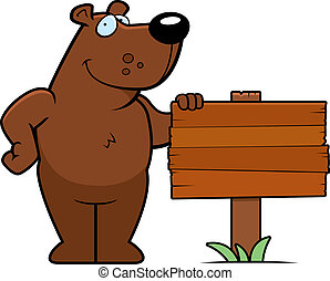 A happy cartoon bear standing next to a wood sign.