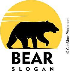 Bear silhouette Logo vector easy editable with High...
