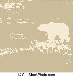 bear silhouette on brown background, vector illustration