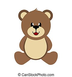 Bear, simple color image, children's toy - Bear, hand-drawn...