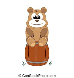 bear sits on a barrel of honey