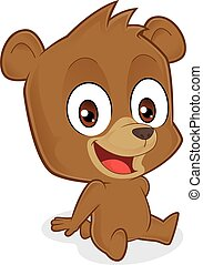 Bear sitting - Clipart picture of a bear cartoon character...