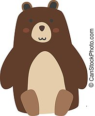 Bear sitting, illustration, vector on white background.