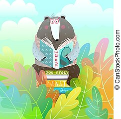 Bear sitting on books stack reading a fairy tale in the colorful forest, amusing kids cartoon.