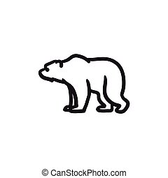 Bear sketch icon. - Bear vector sketch icon isolated on...