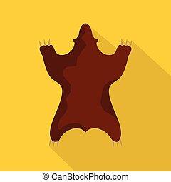 Bear skin icon, flat style