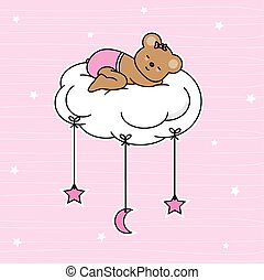 Bear sleeping on the moon cloud