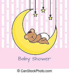 Bear sleeping on the moon