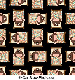 Bear sleeps in bed pattern seamless. sleeping grizzly background. Vector texture