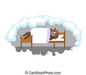 Bear sleeps on bed in den. Grizzly asleep. Wild beast dormant. Vector illustration