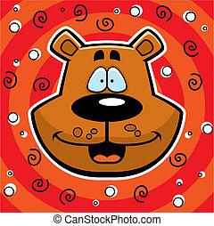 Bear Smiling - A happy cartoon bear head smiling on a...