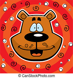 Bear Smiling - A happy cartoon bear head smiling on a...