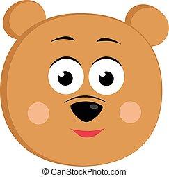 Bear smiling, illustration, vector on white background.