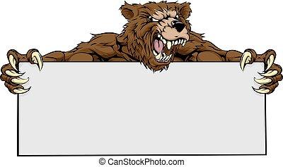 Bear Sports Mascot Sign - A mean looking bear mascot holding...