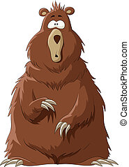 Surprised by a brown bear, vector illustration