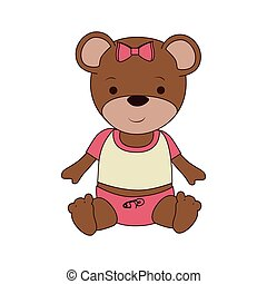 bear teddy baby toy icon