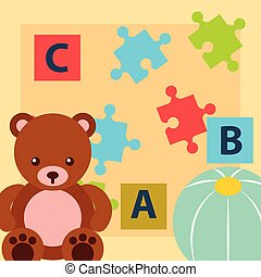 bear teddy ball blocks alphabet and puzzles toys