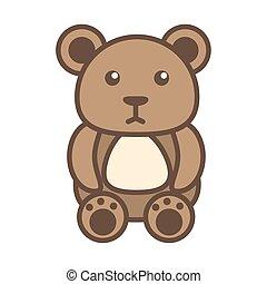 bear teddy child toy block style icon