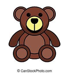 bear teddy child toy flat style icon