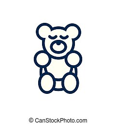 bear teddy child toy line style icon
