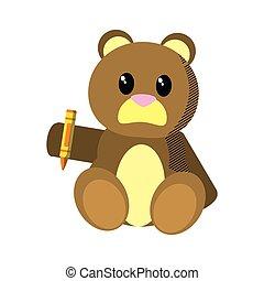 bear teddy cute toy with crayon