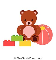 bear teddy plastic ball and blocks toys kids