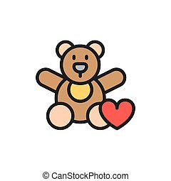 Bear toy, donation to children, charity flat color line icon.
