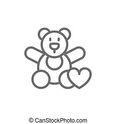 Bear toy, donation to children, volunteering for orphanages, charity line icon.