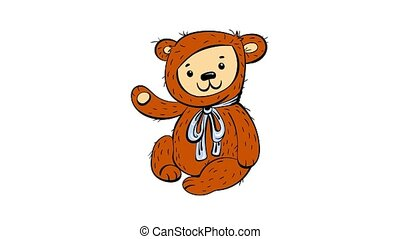 Bear toy icon animation best on white background for any design