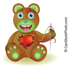 Bear toy with heart.