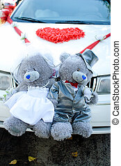 Bear toys for decoration wedding car