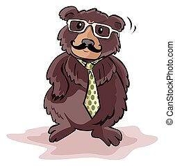 Bear using businessman costume