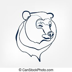 bear vector animal wild one line design