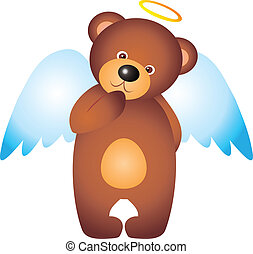 Bear vector - teddy bear Angel isolated on white background....