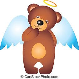 Bear vector - teddy bear Angel isolated on white background...