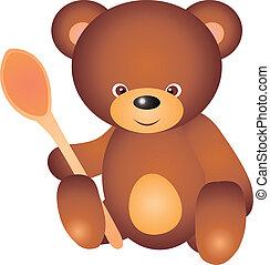 Bear vector - teddy bear with spoon. Isolated on white...