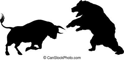 A bear versus a bull standing for the bears versus bulls financial stock market metaphor