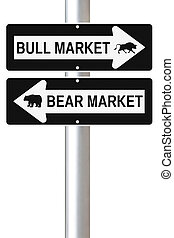 Bear Versus Bull - Conceptual one way road signs on business...