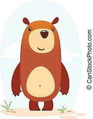 bear., vettore, illustrazione, felice, cartone animato, isolato