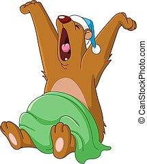 Bear waking up from hibernation yawning and stretching