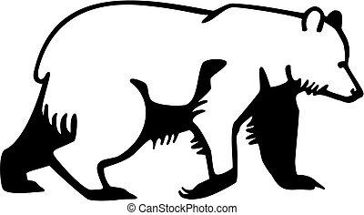 stylized vector drawing of an Alaskan brown bear walking
