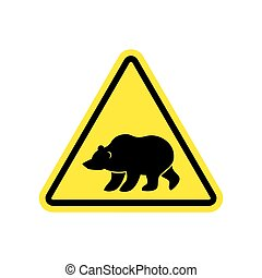 Bear Warning sign yellow. Predator Hazard attention symbol. Danger road sign triangle wild beast